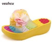 2016 New Summer Shoes Women Flip Flops Platform Slippers Platform Wedges Fitness Floral Lady S Slippers