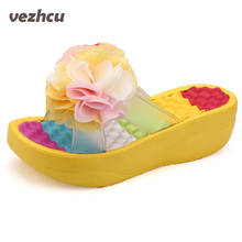 Женские тапочки Летние женские туфли вьетнамки на платформе Тапочки на танкетке фитнес Цветочные женские тапочки обувь женщина ac63