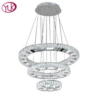 Modern LED Diamond Ring Crystal Chandeliers Chrome Mirror Finish Stainless Steel Lights Room Hanging Lamp LED