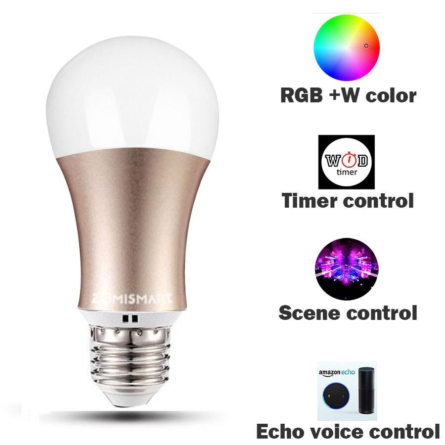Ampoule RGB pour Google Home Dimmable E26 E27 lampe intelligente changement de couleur moblie App télécommande couleur blanche disponible