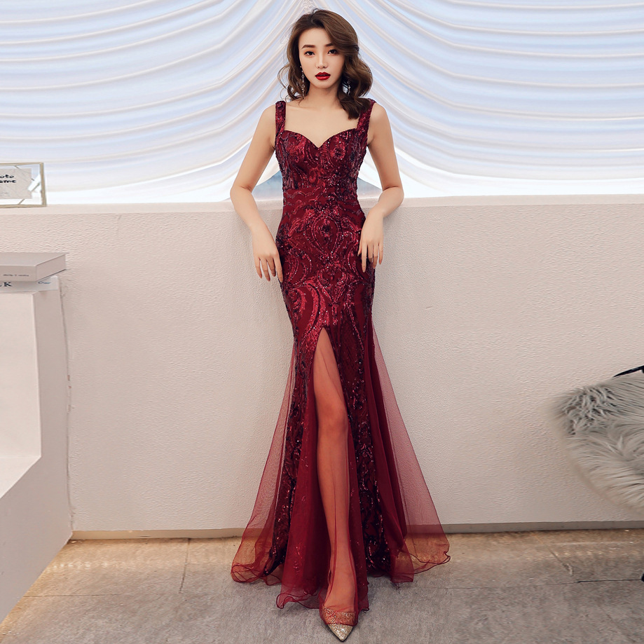 Long Lace Party   dress   2019 Elegant Printing Glitter Party Backless Sleeveless   Evening     Dresses   Vestido longo