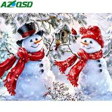 AZQSD 5d Diy Diamond Painting Winter Embroidery Snowman Christmas Decorations For Home Rhinestones Pictures Crafts