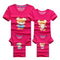1psc Mother Son Daughter Outfits 2016 New Spring Summer Family Matching Baby Girls Boys Cartoon Cute Bear Print Outfits Clothing