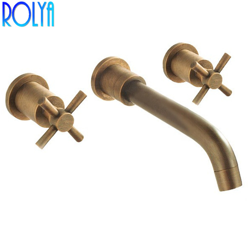 ROLYA Antique Brass Cross Handles In wall Basin Faucet Vintage Old Style Bathroom Mixer Taps