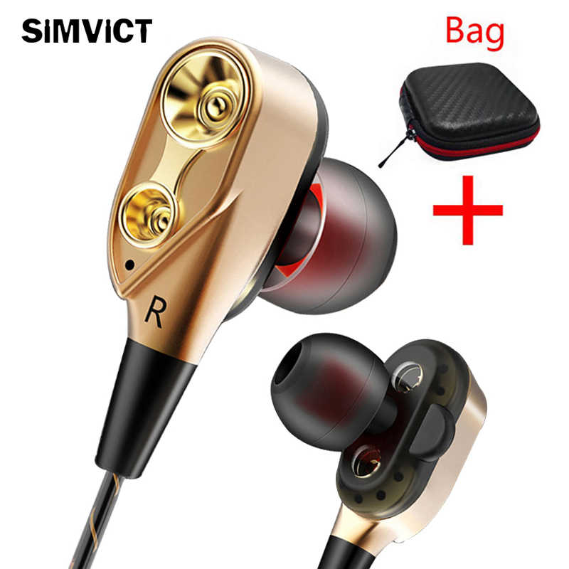 Simvict Stereo Headphone Double Unit Drive Di Telinga Earphone Bass Headset untuk Ponsel Dj MP3 Sport Earbud Auriculares