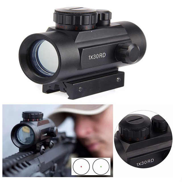 Berburu Pandangan 1X30 Hologram Dot Sight Airsoft Merah Hijau Dot Sight Optik Berburu Lingkup 11 Mm 20 Mm rail Mount Collimator Mendesah