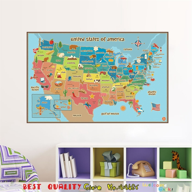 Aliexpresscom Buy Fashion World Map Of American USA SIGN Home - World map of the united states of america