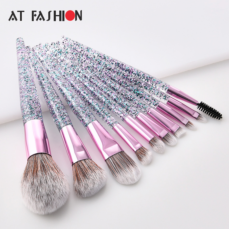 10Pcs Glitter Diamond Crystal Handle Makeup Brushes Set Eyebrow Eyeshadow Powder Foundation Face Make Up Brush Cosmetic Tool Kit fashion 10pcs professional makeup powder foundation blush eyeshadow brushes sponge puff 15 color cosmetic concealer palette