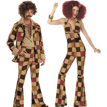 Umorden 70s Mens Disco Sleaze Ball Costume Womens Boogie Babe Costumes for Couple Halloween Party Carnival Fantasia Cosplay