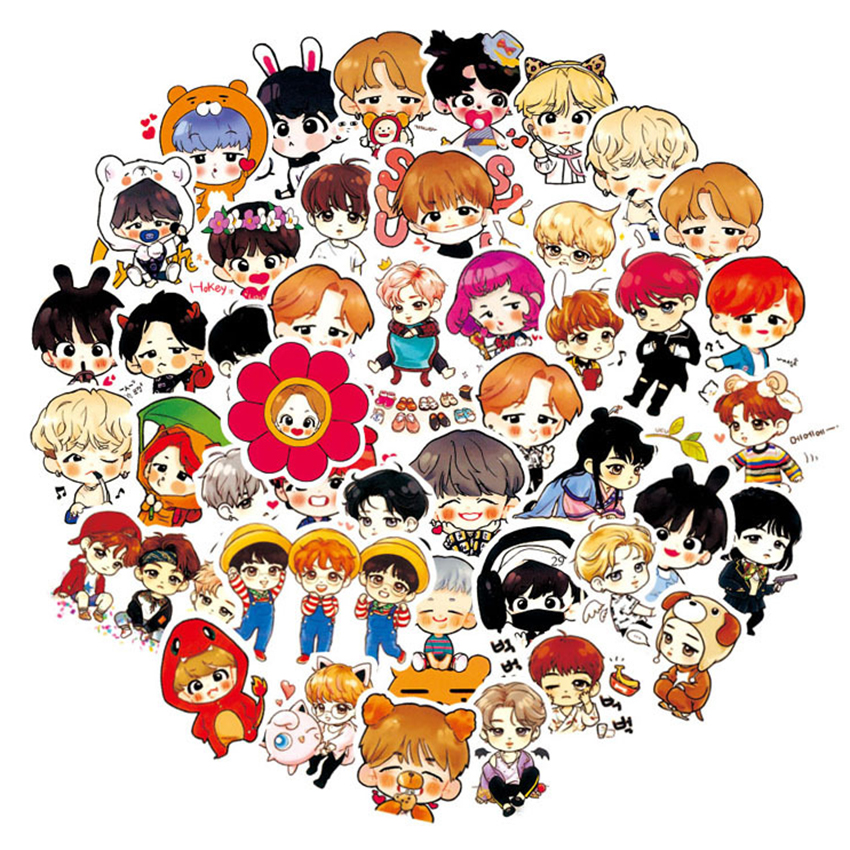 63PCS Cute Expression BTS Stickers Youth Group Cartoon Handpainted Q Version Sticker For Luggage Laptop Notebook For Kid