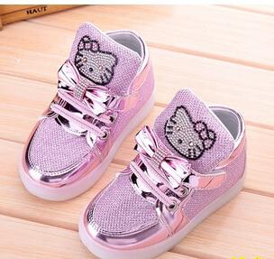 KKABBYII Children Shoes New Spring Hello Kitty Rhinestone Led Shoes Girls Princess Cute Shoes With Light EU 21-30
