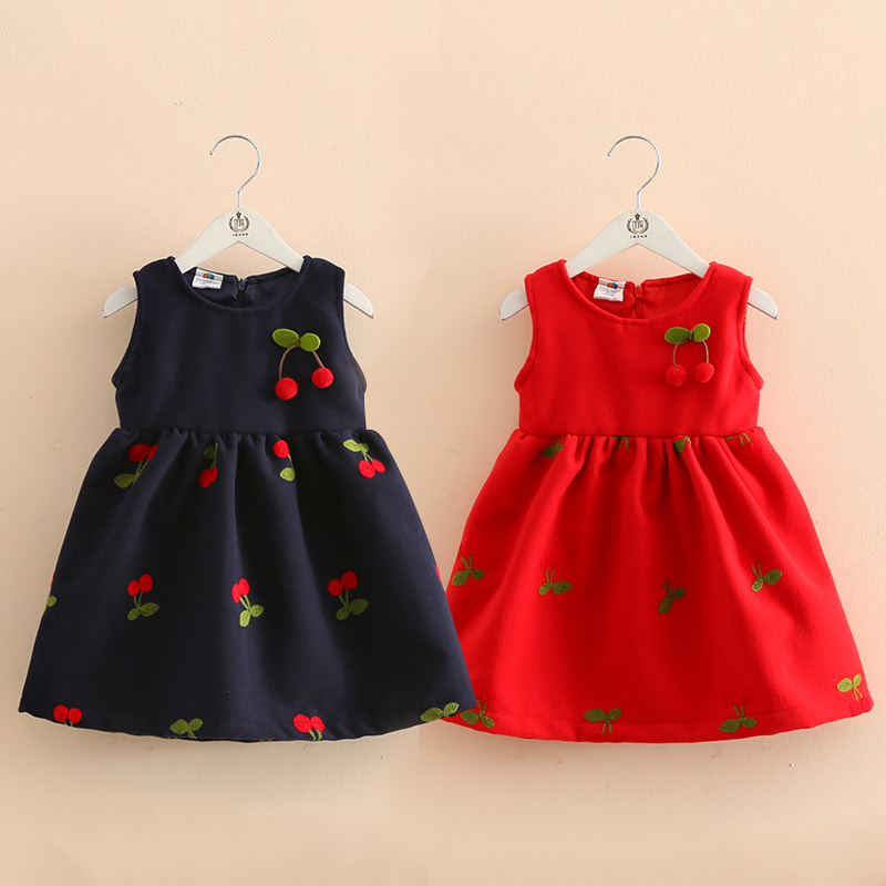 Baby Girl Dress Winter Style Wool Embroidery Cherry Dress Fashion Kids Girls Clothes Sleeveless Bow Tutu Dress Vestido Infantil
