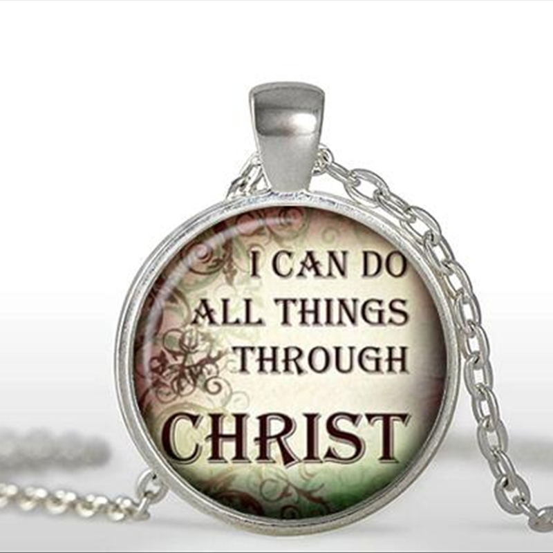 Christian Quotes Pendant Christian Jewelry Quote Necklace Glass Dome Pendant Necklace art gift for new year