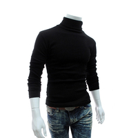 2016 Winter Mens Turtleneck Sweaters Black Pullovers Clothing For Man Cotton Knitted Sweater Male Sweaters Pull