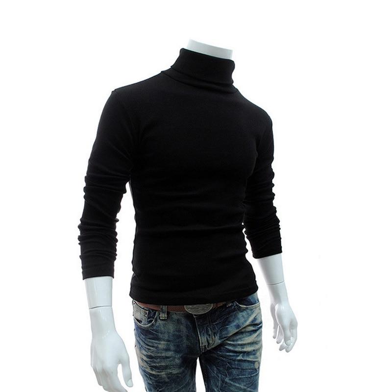 2018 Mens për Dimër Turtleneck Triko Pëlhurash të Zeza Pullovers për burra Pambuku të punuar me shtiza Pëlhura Meshkuj Pull Hombre XXXL 50