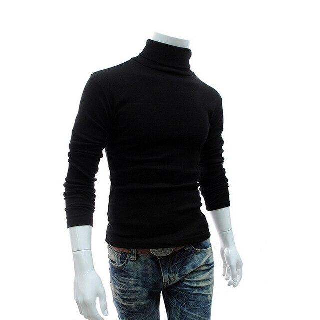 09740f0896 US $9.96 48% di SCONTO|Inverno 2018 Uomo Dolcevita Maglioni Pullover Nero  Abbigliamento Uomo Cotone Lavorato A Maglia Maglione Maschile Maglioni ...