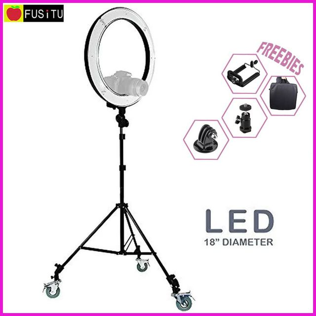 "Fusitu 2017 new RL-18"" Photography Video Studio Ring Flash Light & 2m Wheel stand Kit 5500K 240 pcs SMD LED Light"