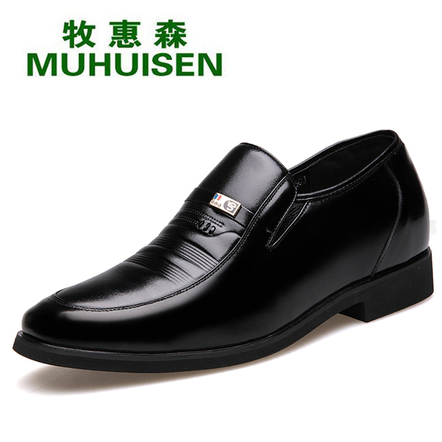 MUHUISEN Marca Slip-on de los holgazanes de Cuero Genuino de los hombres Venta Caliente de La Manera zapatos con alzas Para Hombres mocassim masculino de Negocio zapatos