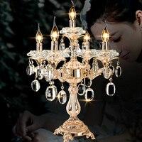 Большой 5 arm Свадьба Хрустальный подсвечник светодиодный светильник ресторан золото настольная лампа подсвечники освещение стол свет Luminaria
