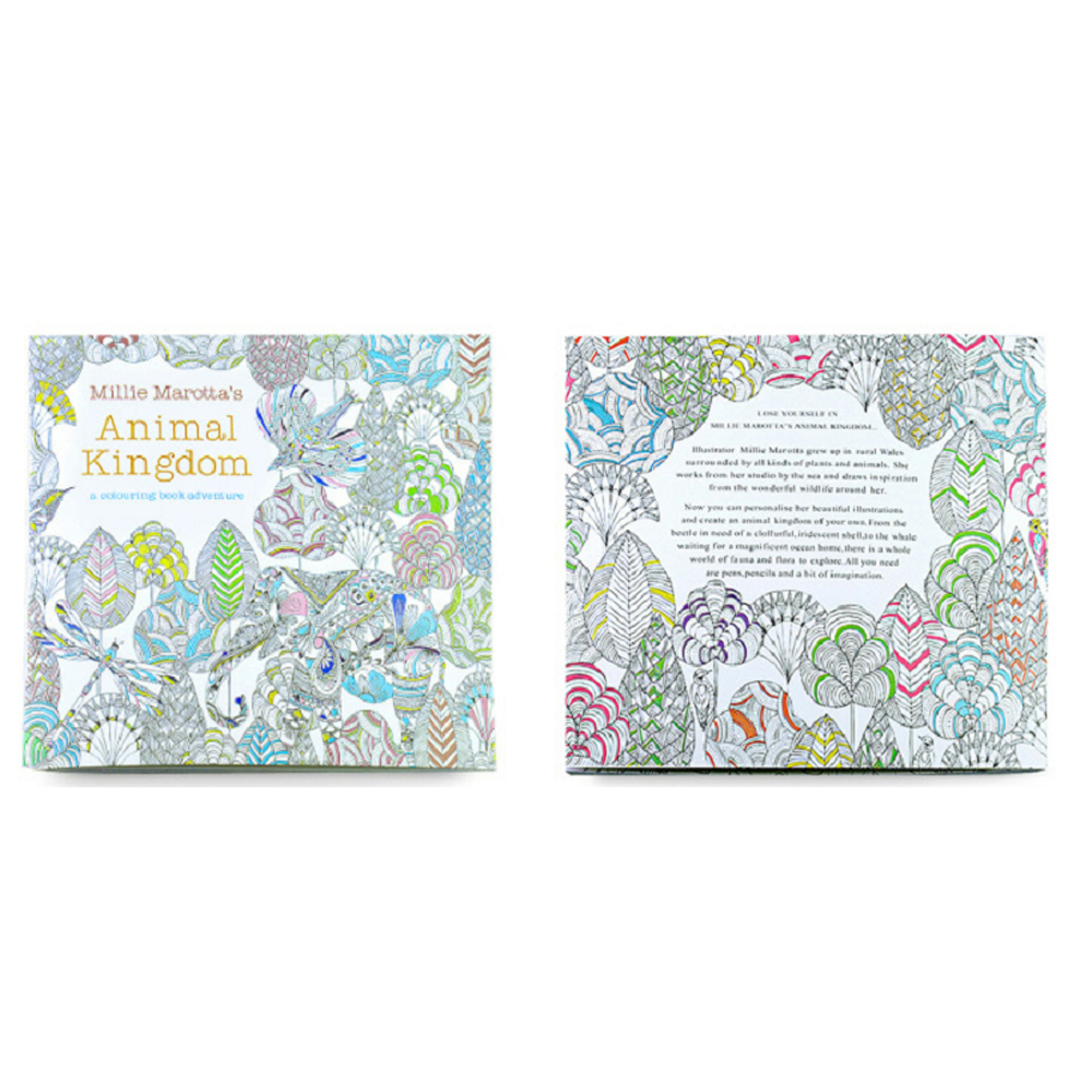 24 Pages Coloring Book Relieve Stress Animal Kingdom English Edition For Children Adult Funny