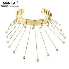 Manilai marca diseño único Rock metal declaración Collares joyería moda mujer 2018 collar grande gargantilla oro color aleación Torques