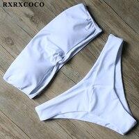 RXRXCOCO Bikini 2017 Solid Bikini Set Bandeau Swimsuit Women Sexy Strapless Swimwear Female Low Waist Bathing