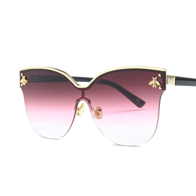 ladies Oversize Rimless Sunglasses Women 2018 Fashion Cat Eye Bee Sun Glasses Female Retro Brand Designer lentes de sol mujer