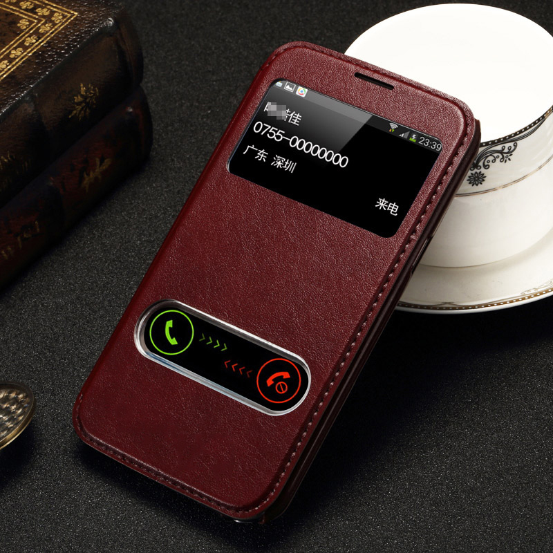 For Samsung Galaxy Note II 2 N7100 Case Luxury PU Leather Window Stand Design Flip Cover Phone Case Brand New Hot Style