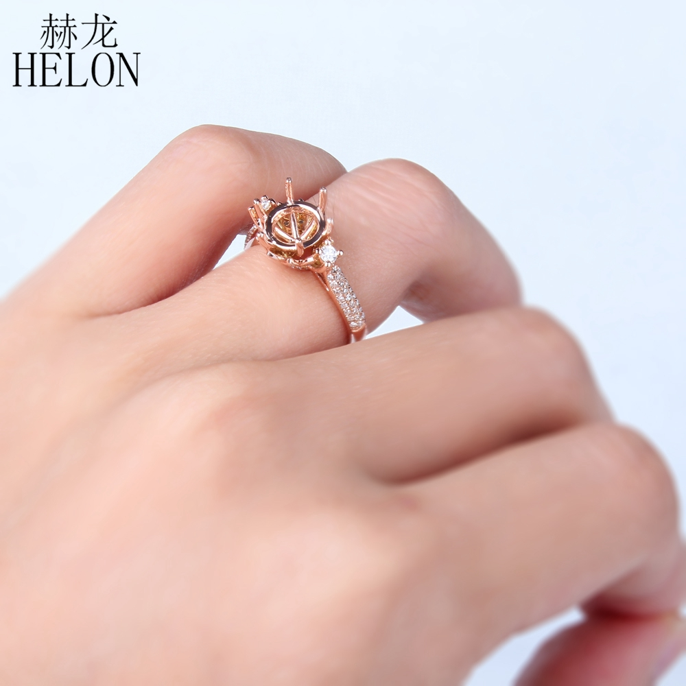 HELON Solid 14K (585) Yellow Gold Round Cut 8 9mm Semi Mount Pave ...