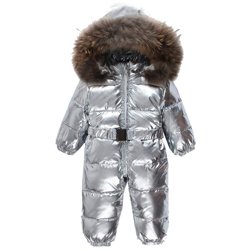 Russian Winter Snowsuit 90% White Duck Down Baby Clothes Silver Boy And Girls Rompers Infantil Outdoor Jacket With Belt russia winter boys girls down jacket boy girl warm thick duck down
