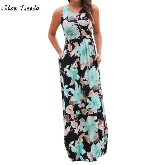 Summer Women Long Dress Chiffon Floral Print Halter Tunic Sleeveless Pleated Long Party Boho Max Dresses With Belt Vestidos#GH