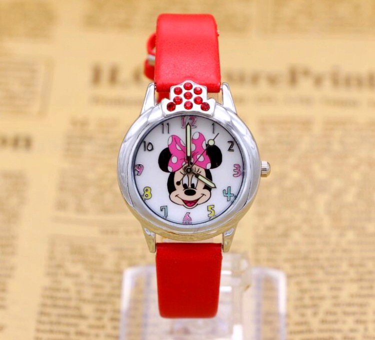 2017 Fashion Minnie Lovely Girls Ladies Women Crystal Watch Kids Children Cartoon Silicone Sport Watches Relogio Feminino