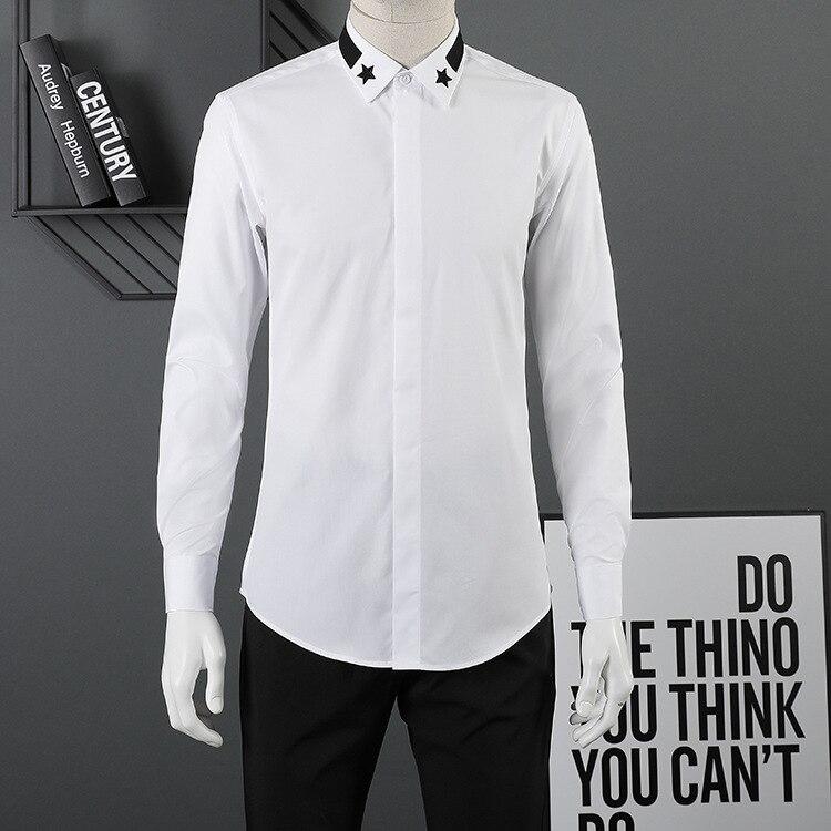 Личность Для мужчин тонкий длинный Модная рубашка с длинными рукавами