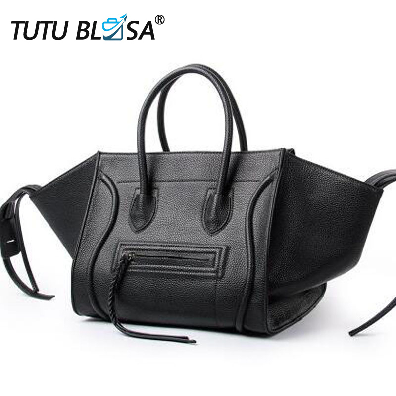 New Famous Designer Brand Luxury Women Leather Handbags Fashion Smile Face Tote Quality Trapeze Smiley Clutches Bolsa Feminina(China)