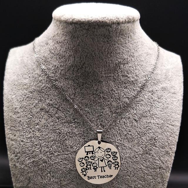 2018 di Modo di Insegnante In Acciaio Inox Collana Donne gioielli Collane di Colore Argento e Pendenti con gemme e perle Gioielli acero inoxidable ND21A