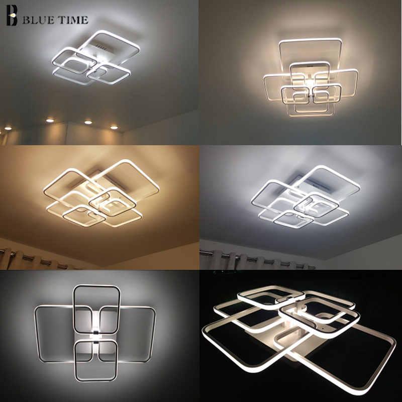Ev Modern Led tavan işık fuaye oturma odası yatak odası ışıkları kare avize tavan lambası beyaz siyah aydınlatma armatürleri