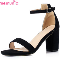 MEMUNIA 2018 New Style Women Sandals Top Quality Flock Summer Shoes Simple Buckle Big Size 33