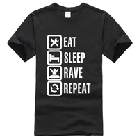 Eat Sleep Rave Repeat Letter 2017 Summer T Shirts For Men Fashion Casual Kpop Brand Clothing