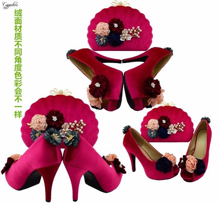 La Conception Pompe De Bl002 Mode Couleur partie À Pour Beaucoup Dans Ensemble Sac Luxe Lady Fleur Chaussures Fuchsia Avec Main Mariage F1qgOqwI