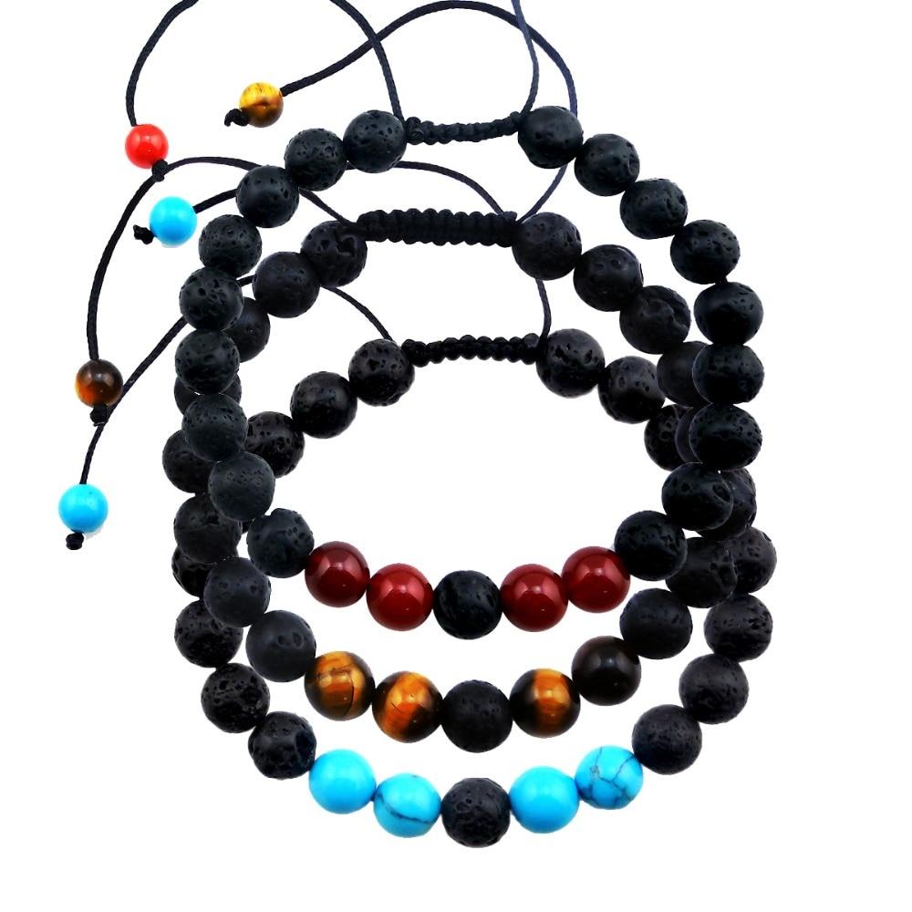 Adjustable Tiger Eye Clay Bracelet 8mm Lava Essential Oil Diffuser Bracelet Men Women Lava Stone Bracelets