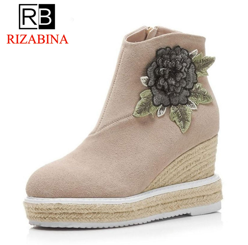 RizaBina Women Real Leather Ankel Boots Women Flower Platform High Wedges Boots Warm Shoes Short Bota Winter Footwear Size 34-39 women real genuine leather flat ankle boots cotton snow half short bota quality warm winter boot footwear shoes r7603 size 34 40