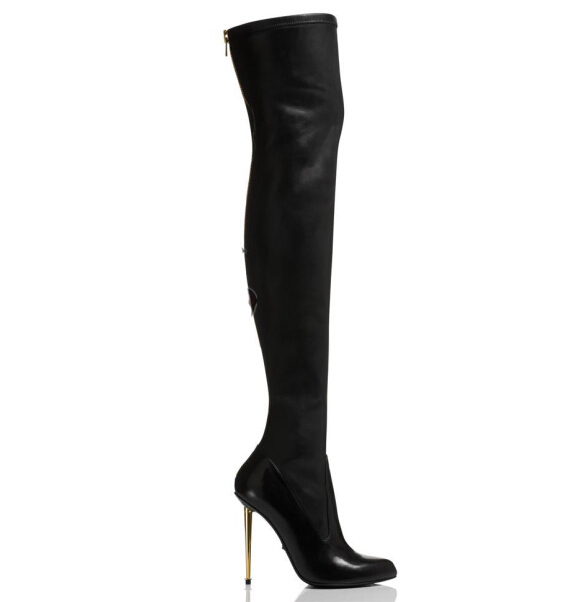 Stretch Fashion Leather Metal Stiletto Over-The-Knee Boot high heel sexy gold zipper long boots thigh high winter boots