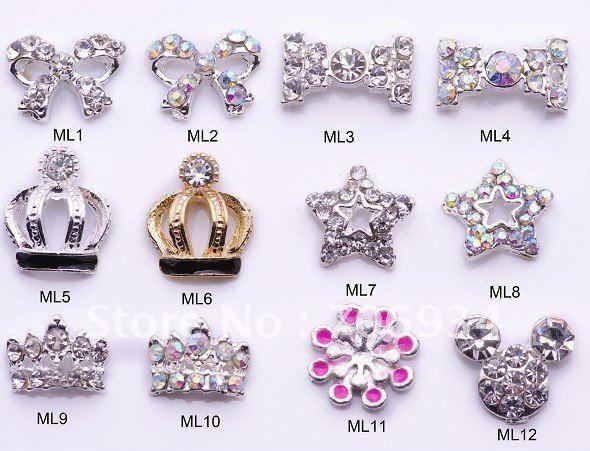 50pcs/lot 350 optional Nail Tips Dangle Jewelry Nail Art Decoration