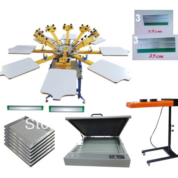 NEW 8 color 8 station silk screen printing kit UV exposure Flsh dryer t shirt printer press carousel stretched frame squeegee