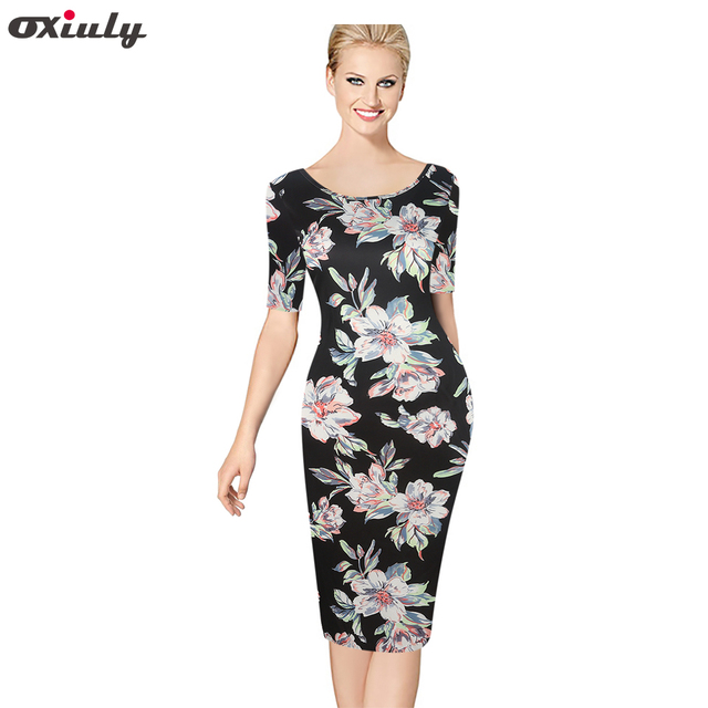 601b05387bb Oxiuly Womens Elegant Vintage Floral Print Pinup Tunic Casual Wear To Work  Office Party Pencil Sheath Dress