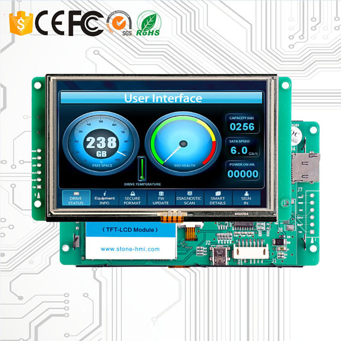 HMI LCD Touch Screen With Drive Board And RS232 Interface
