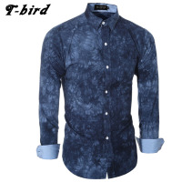 T Bird Brand 2017 Men Shirt 3D Tie Dye Dress Shirt Long Sleeve Slim Fit Camisa