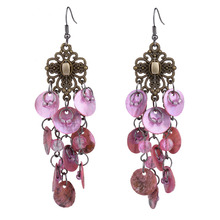 MYTHIC AGE Bohemian Bronze Color Shell Long Tassel Vintage Drop Dangle Earrings Jewelry For Women mythic age gold color ethnic chinese element cloisonne enamel leaves dangle earrings wholesale jewelry for women girls new