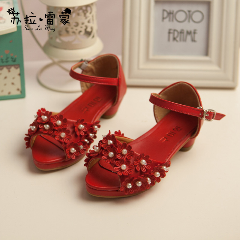 2015 New Model Girls Shoes Sweet Girls Sandals With Appliques