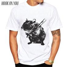 new fashion Angry street art baseball mouse/hamster printed men t shirt animal short sleeve funny tops hipster tee t-shirt
